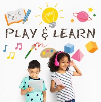 Impara gioca educazione apprendimento icona