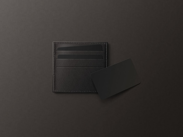 Portacarte in pelle con cartoncino bianco nero