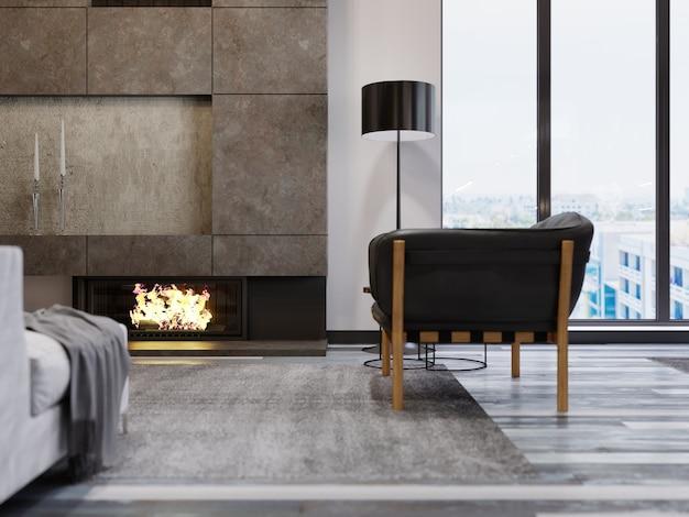 Poltrona di design in pelle con gambe in legno vicino al camino. camino in cemento con fuoco vivo. interni in stile loft. rendering 3d.