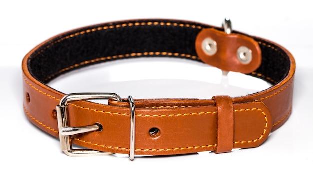 Collare di cane in pelle isolato su sfondo bianco, vista laterale.