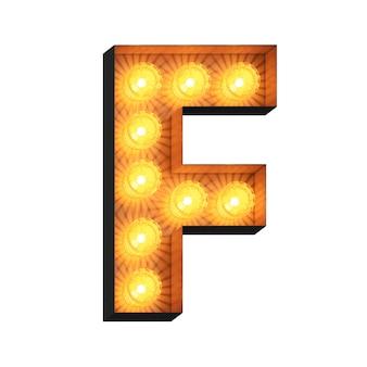 Led marquee lettera f su sfondo bianco