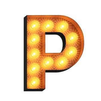 Led marquee lettera p su sfondo bianco