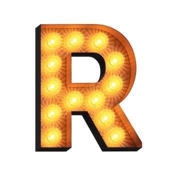 Led marquee lettera r su sfondo bianco