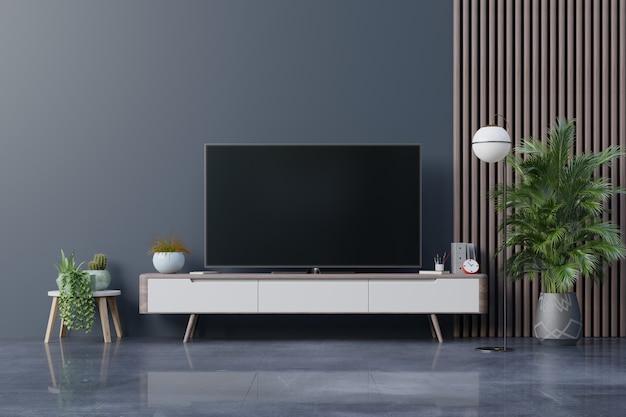 Tv led sulla parete scura in soggiorno, design minimale.