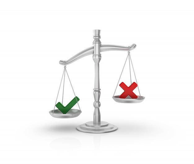 Bilancia legale con segno di spunta e croce