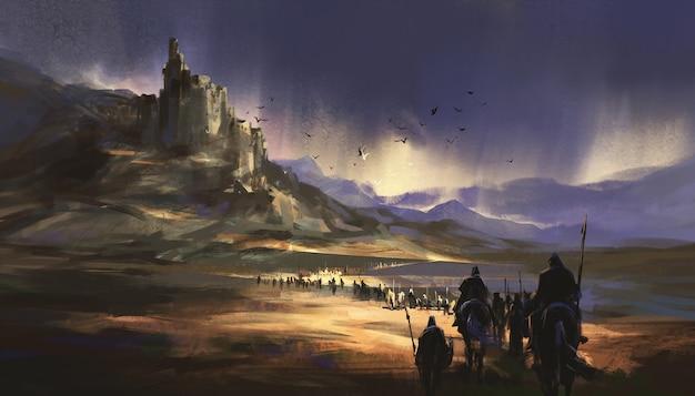Una legione in marcia verso il castello medievale, illustrazione 3d.