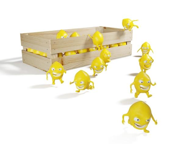 La fuga del personaggio di limone dalla scatola di legno. illustrazione 3d