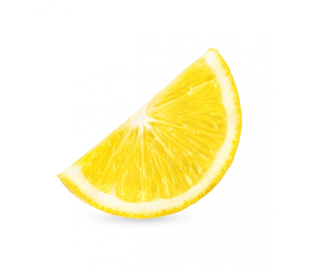 Fetta del limone isolata su fondo bianco