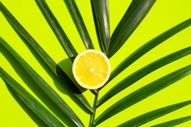 Limone su foglie di palma tropicali su sfondo verde.