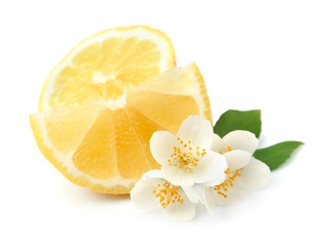 Limone con foglie su bianco