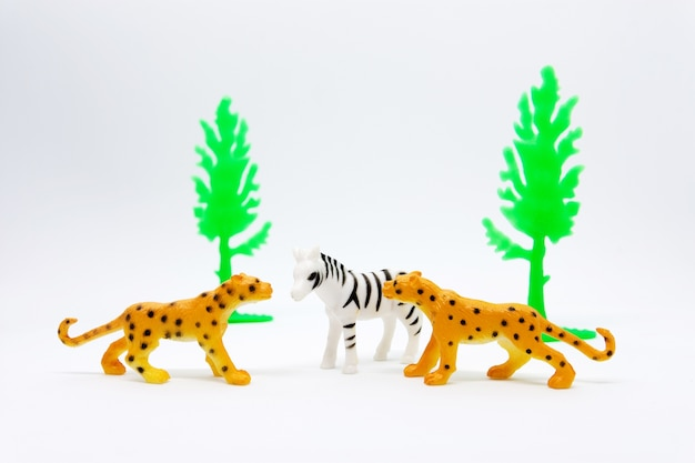 Modello di leopardo e zebra isolato su sfondo bianco, plastica di giocattoli animali