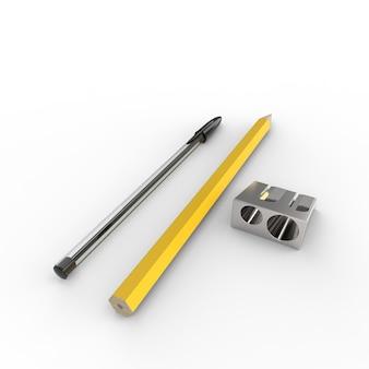 Les crayons avec tailleur de crayon sur fond blanc