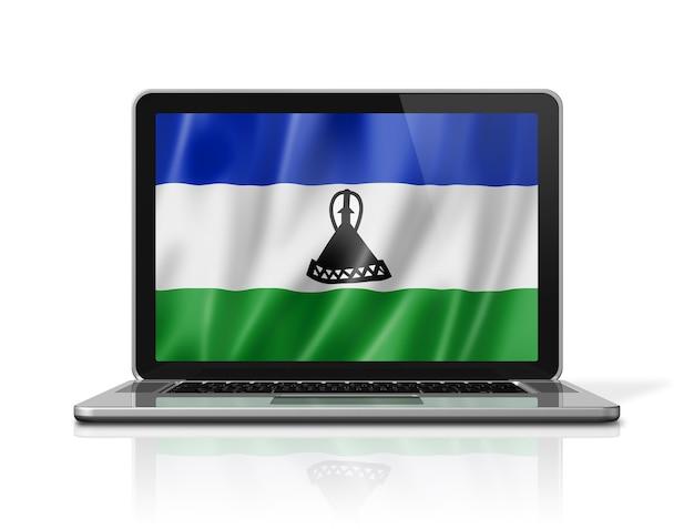 Bandiera del lesotho sullo schermo del computer portatile isolato su bianco. rendering di illustrazione 3d.
