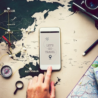 Lascia andare l'ispirazione di viaggio su un telefono