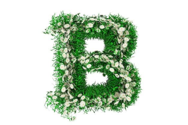 Lettera b di erba verde e fiori. rendering 3d.