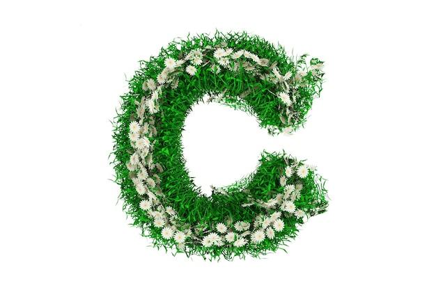 Lettera c di erba verde e fiori. rendering 3d.