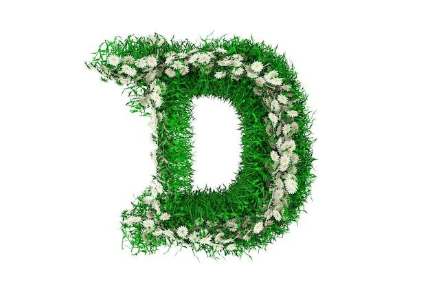 Lettera d di erba verde e fiori. rendering 3d.
