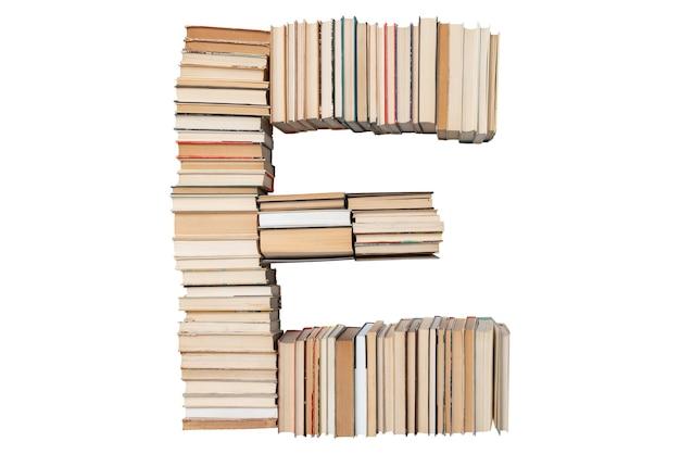 Lettera e fatta di libri isolati su bianco