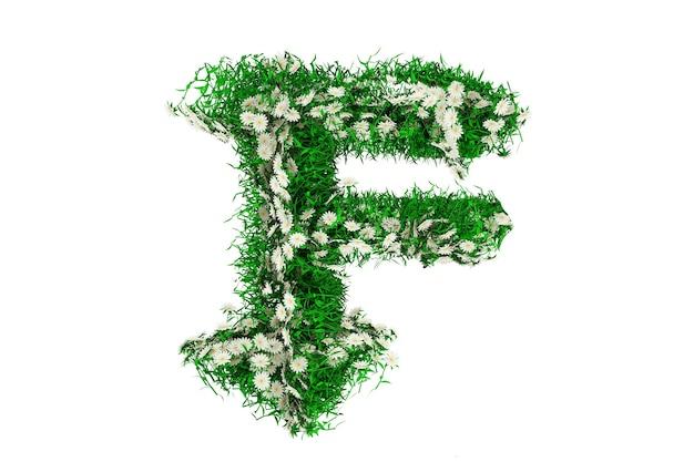 Lettera f di erba verde e fiori. rendering 3d.