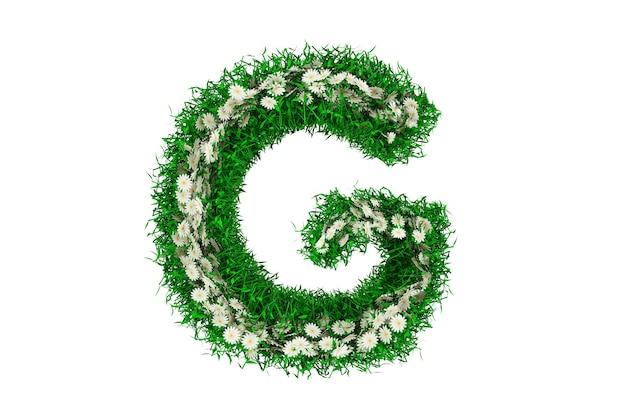 Lettera g di erba verde e fiori. rendering 3d.