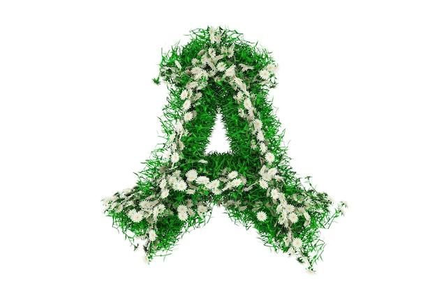 Lettera a di erba verde e fiori. rendering 3d.