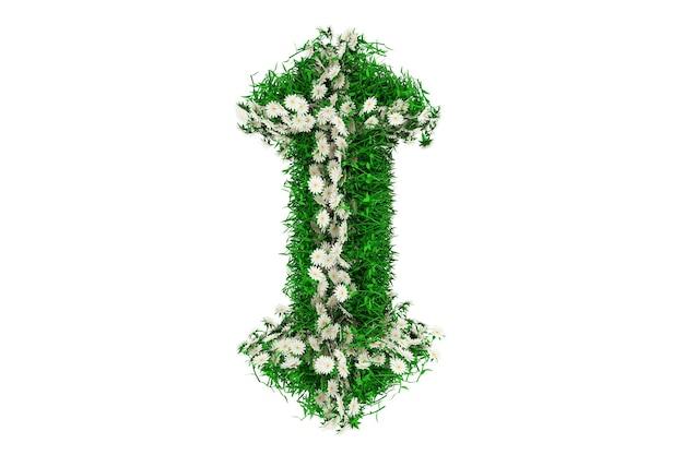 Lettera i di erba verde e fiori. rendering 3d.