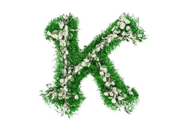 Lettera k di erba verde e fiori. rendering 3d.
