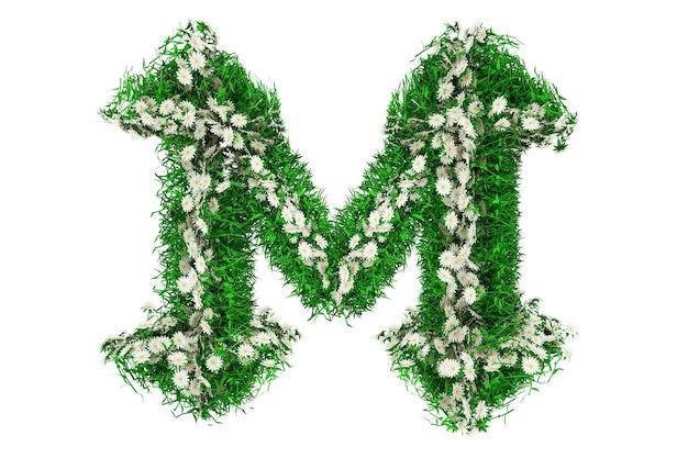 Lettera m di erba verde e fiori. rendering 3d.