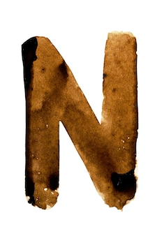 Lettera n - alfabeto nel caffè