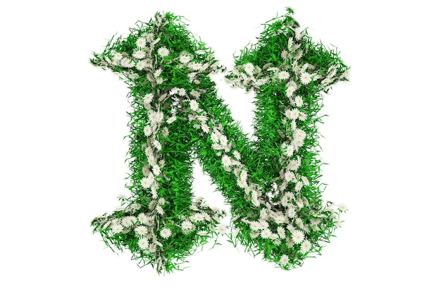 Lettera n di erba verde e fiori. carattere per il tuo design. illustrazione 3d.