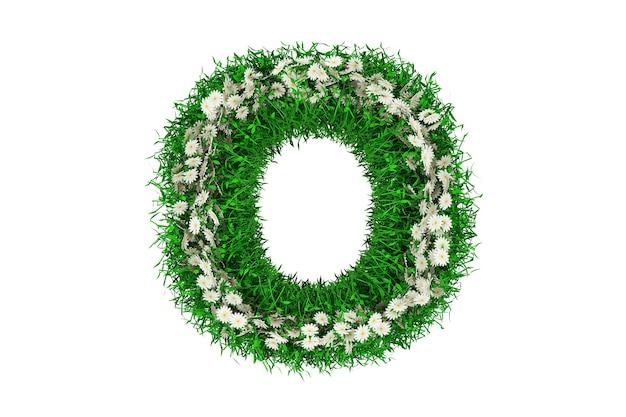 Lettera o di erba verde e fiori. rendering 3d.