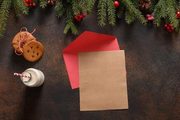 Lettera per babbo natale, latte e biscotti di panpepato fatti in casa