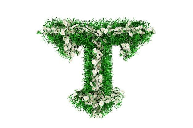 Lettera t di erba verde e fiori. rendering 3d.