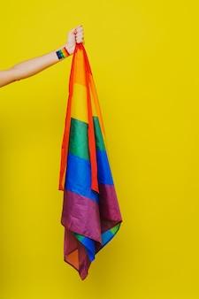 Bandiera arcobaleno lgbt, supporto concettuale per gay, lesbiche, transgender e contro l'omofobia