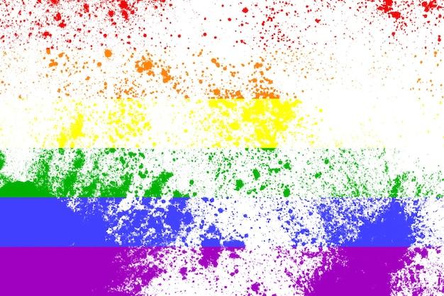 Bandiera arcobaleno lgbt con texture. un simbolo internazionale della comunità di lesbiche, gay, bisessuali e transgender