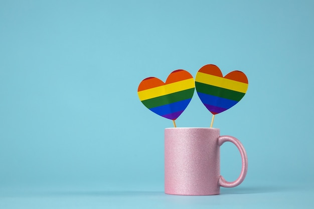 Tazza da caffè lgbtq comunità colori arcobaleno cuori, tazza da caffè rossa