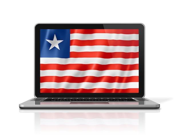Bandiera della liberia sullo schermo del computer portatile isolato su bianco. rendering di illustrazione 3d.