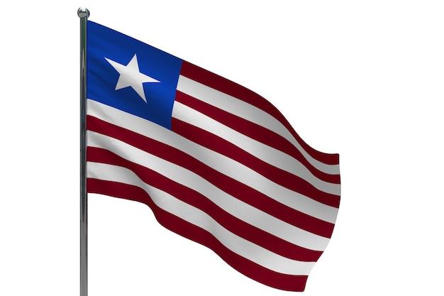 Bandiera della liberia in pole. pennone in metallo. bandiera nazionale della liberia 3d'illustrazione su bianco