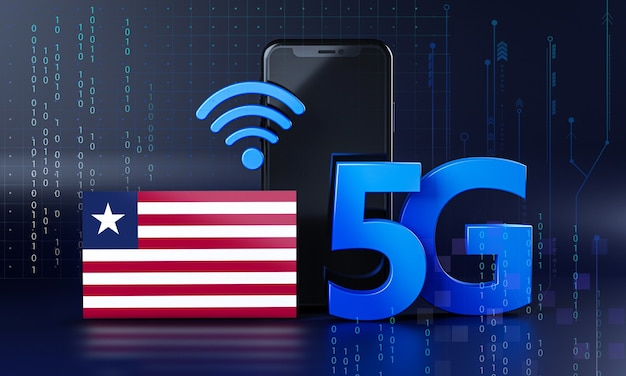 Liberia pronta per il concetto di connessione 5g. sfondo di tecnologia smartphone rendering 3d