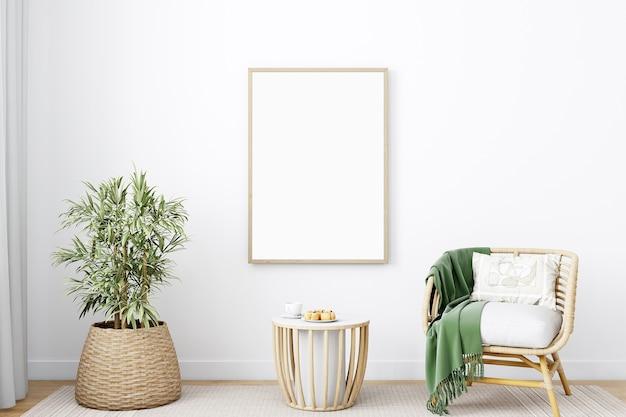 Mockup di soggiorno e cornice in legno