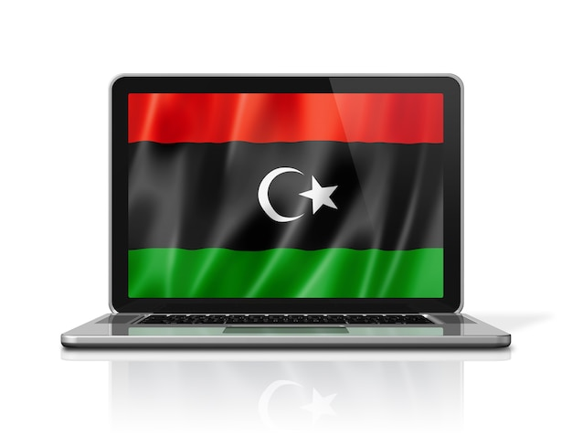 Bandiera della libia sullo schermo del laptop isolato su bianco. rendering di illustrazione 3d.