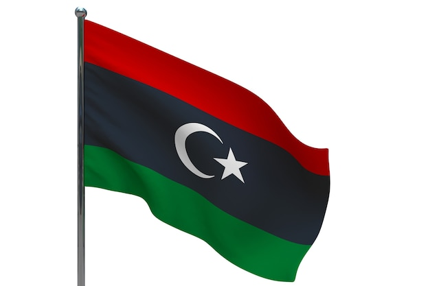 Bandiera della libia in pole. pennone in metallo. bandiera nazionale della libia 3d'illustrazione su bianco