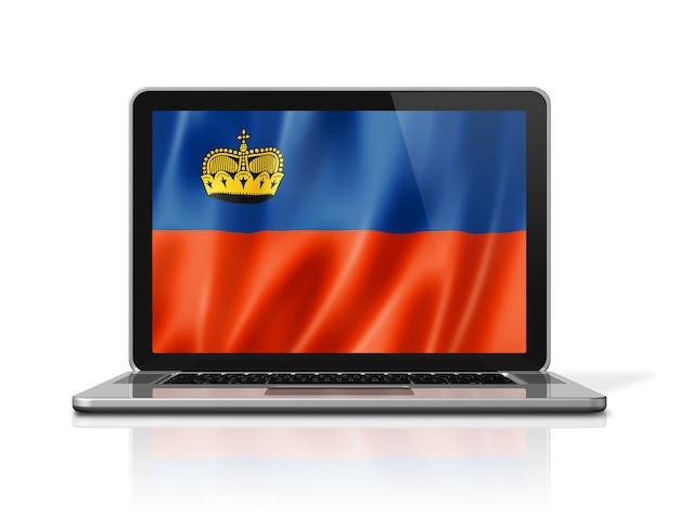 Bandiera del liechtenstein sullo schermo del computer portatile isolato su bianco. rendering di illustrazione 3d.