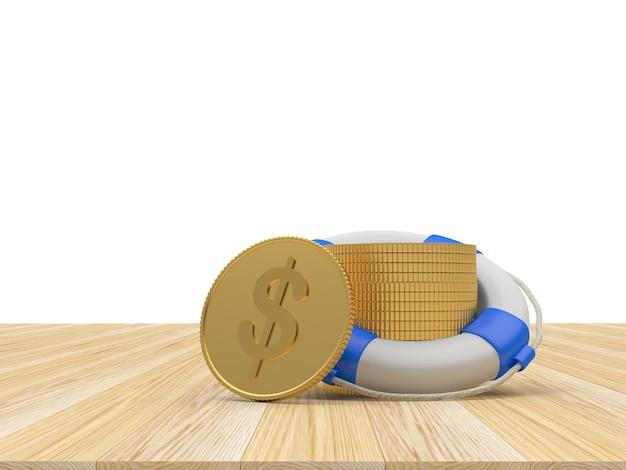 Salvagente con monete in dollari su legno