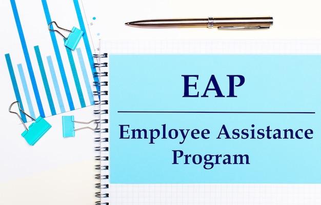 Su uno sfondo chiaro - diagrammi azzurro chiaro, graffette e un foglio di carta con il testo eap employee assistance program. vista dall'alto. concetto di affari