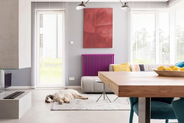 Divano beige chiaro, tavolo, caminetto, opere d'arte, finestre luminose e accenti viola in soggiorno contemporaneo con cane che dorme sul tappeto
