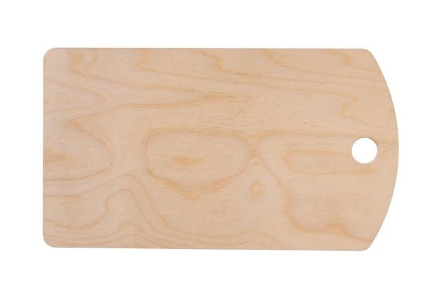 Tagliere da cucina in compensato beige chiaro con foro rotondo isolato su sfondo bianco pulito, vista dall'alto in stile piatto.
