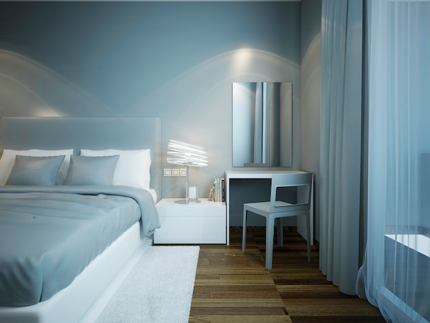 Camera da letto azzurra con armadio e letto vestito con cuscini blu e bianchi