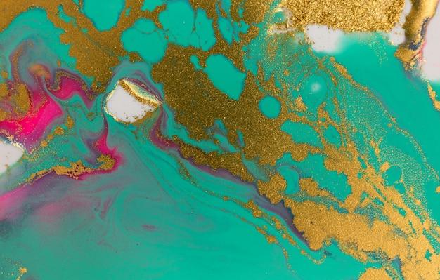 Sfondo astratto paillettes blu chiaro e oro. trama di opere d'arte di colore turchese