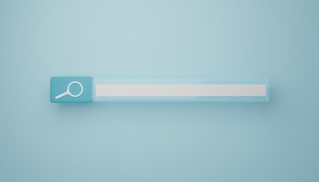 Barra di ricerca azzurra. rendering 3d